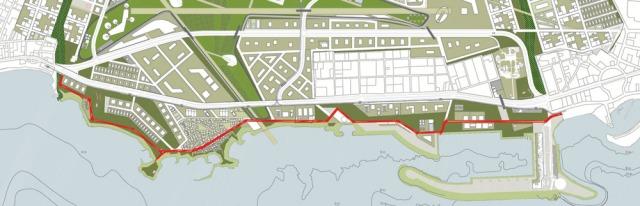 Με την κόκκινη γραμμή σημειώνεται η παράκτια περιπατητική διαδρομή | The red line points out the proposed corniche alond the seafront of Agios Kosmas