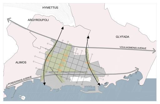 Τα ρέματα και η φυσική κλίση του εδάφους υποδεικνύουν τον προσανατολισμό του δικτύου πεζοδρόμων.The streams and the inclination of the slope indicate the orientation of the main pedestrian grid for the site.